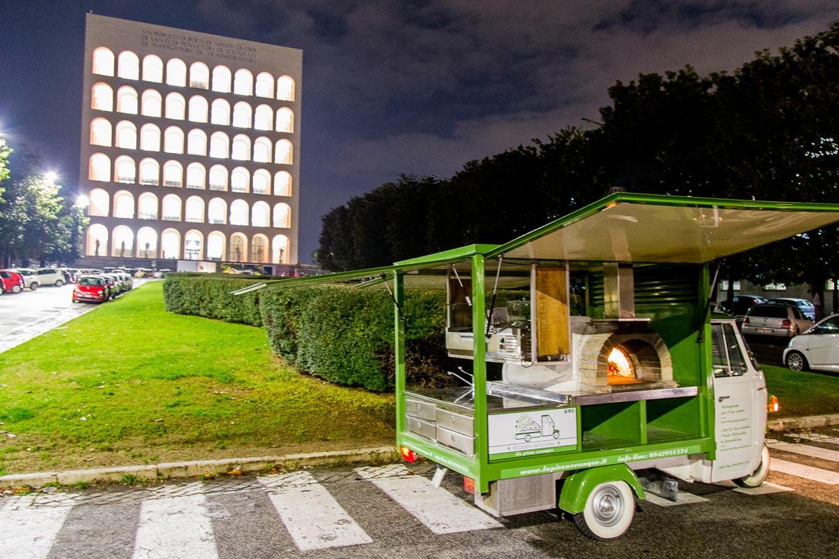 Ape verde pistacchio pizzeria siciliana a Roma, lo street food per eventi